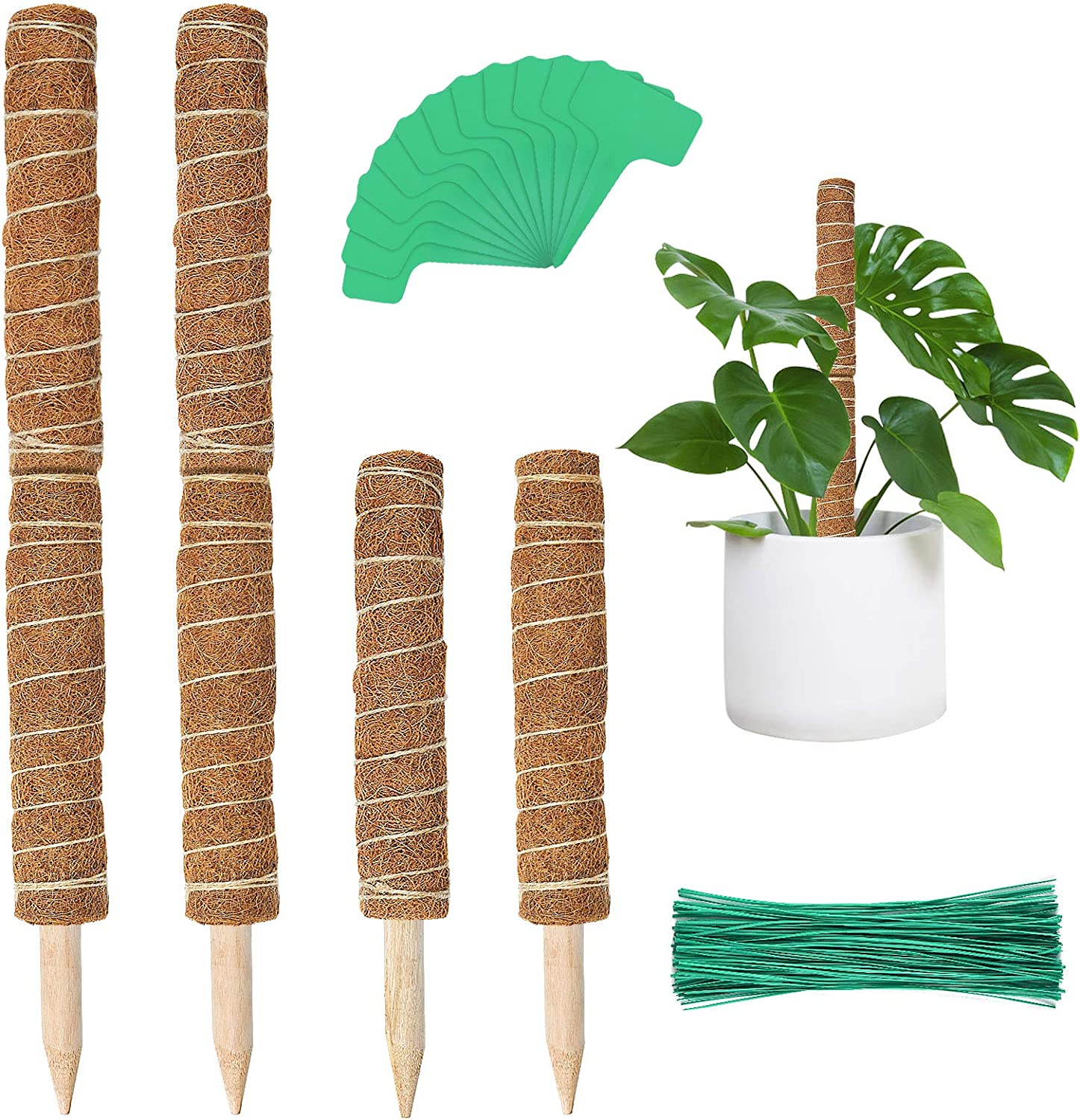 EAONE 6 PCS 15.7'' Moss Poles, Stackable Coir Totem Pole Plant Support Extension with 12 Pcs Plant Labels and 100 Pcs Ties for Potted Climbing Plants Monstera Creepers