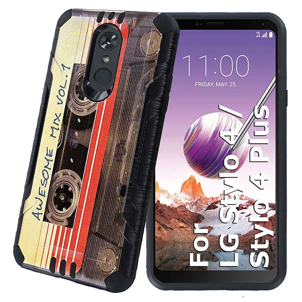 Stylo 4 / Stylo 4 Plus Protector Case [NakedShield] [Black] Rugged Fusion 2 Layers Grip Cover Armor Case [Cassette Mix Vol. 1] for LG Stylo 4 / Stylo 4 Plus