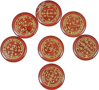 Amogeeli 7pcs Engraved Archangel Symbol Pocket Stone Token, Round Crystal Talisman for Protection