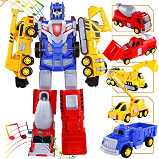 SNAEN Toys for 3 4 5 6 7 Year Old Boys - Construction Vehicles Transform Robot Kids Toys, STEM Building Toddler Toys for K...