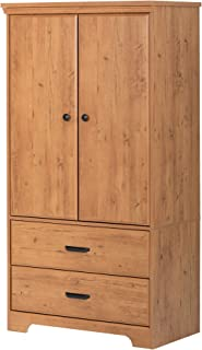 South Shore 2-Door Armoire with Adjustable Shelves and Storage Drawers, Country Pine