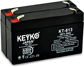 GE Simon & XT Panel 6-1.3 Battery 6V 1.3Ah - 2 Pack Fresh & REAL 1.3Amp AGM/SLA Rechargeable Replacement Designed for Generic Use - Genuine KEYKO - F1 Terminal