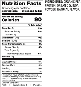 BetterBody Foods Organic Plant Protein Powder, 12.7 Ounces
