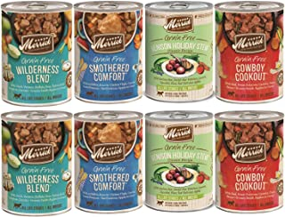Merrick Grain Free Dog Food-Variety Pack 10 Item Bundle 2 cans Each 8 Total cans Wilderness Blend Cowboy Cookout Smothered Comfort Classic Venison 1 Dog Toy 1 Pet Food Lid
