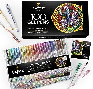 Castle Art Supplies 100 bolígrafos de gel con estuche, para