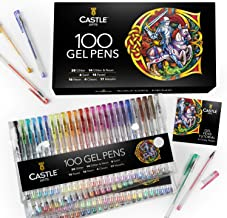 Castle Art Supplies 100 Gel Pen Set with Case for Adult Coloring Books, Drawing, Scrapbooking, Writing - Kit Includes Swir...