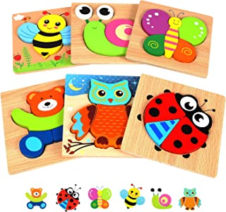 Springflower Wooden Toddler Jigsaw Puzzle Gift Toy for 1 2 3 Years Old Boys and Girls,6 Pack Animal Shape Montessori Toy f...