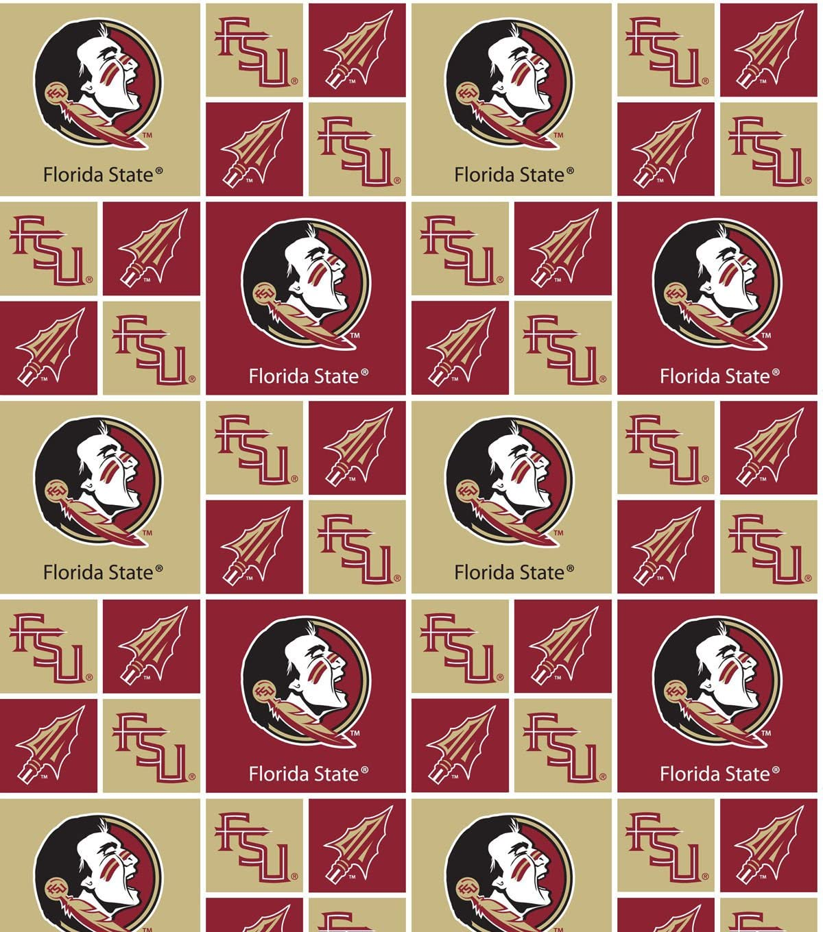 Florida State Seminoles Cotton Fabric-School Colored Ground with Allover Logo Print-Sold by the Yard-