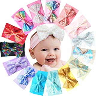 """15 Colors Super Stretchy Soft Baby Girl Headbands with 5"""" Bling Sequins Festival Hair Bows Nylon Head Wrap For Newborn Bab..."""