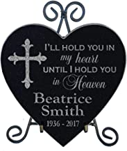 Hold You in My Heart Family Loss Memorial Stone with Stand Personalized Sympathy Garden Marker in Loving Memory of Parent Grandparent Remembrance Gravestone