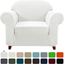 Subrtex 1-Piece Plaid Jacquard Stretch Sofa Slipcovers, Chair, White