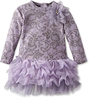 Girls' Lace Confection Netting Long Sleeve Dress in Lavender Purple/Grey