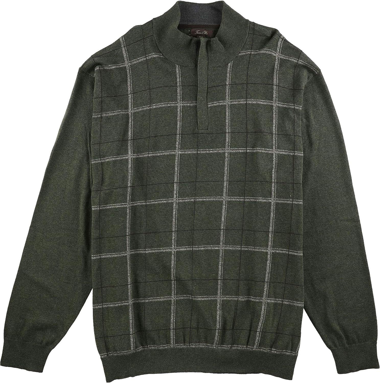 Tasso Elba Mens Refined Grid Quarter-Zip Pullover Sweater, Green, 2XLT