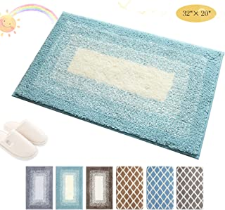 Julone Indoor Doormat Front Door Mat Non Slip Rubber Backing Super Absorbent Water Inside Dirts Trapper Mats Entrance Floor Rugs Machine Washable - 20' 'x 32'', Blue Cyan