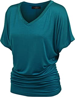 b64ac3cb8af Made By Johnny Women s Solid Short Sleeve Boat Neck V Neck Dolman Top with  Side Shirring