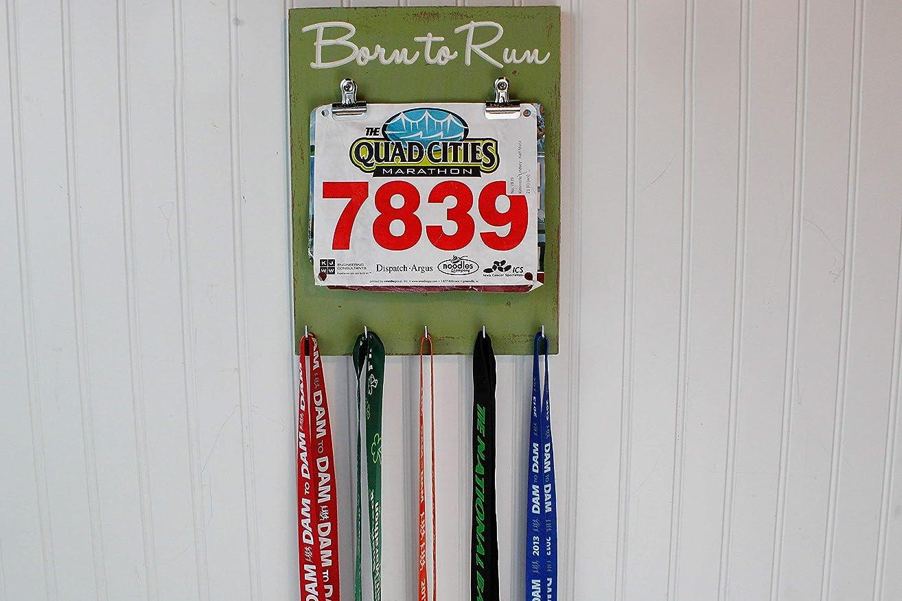 Race Medal Holder Born toRun - Carved Sign - Running Medal Holder- Bib Holder