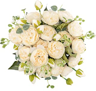 crazylove Artificial Silk Peony Flowers White Peony Fake Flowers Bouquet Small Pieces Design for Home Wedding Decoration I...