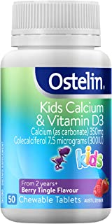 Ostelin Kids Calcium and Vitamin D3 Tablets - Helps maintain strong bones - Assists development of teeth, Berry, 50 count