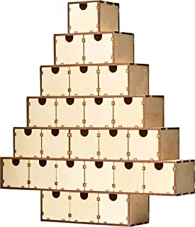 Juvale Wood Advent Calendar - Unfinished Christmas Tree Advent Calendar, Countdown Calendar, for DIY, Art Projects, Holiday Decoration, Gift, 24 Drawer Boxes, 13.2 x 12.2 x 2.5 Inches