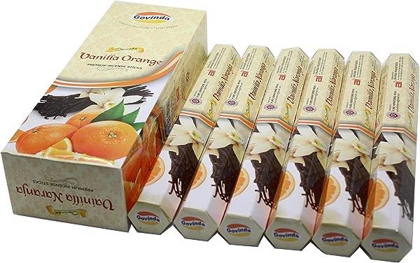 Govinda Incense Vanilla Orange 120 Incense Sticks Premium Incense Masala Coated