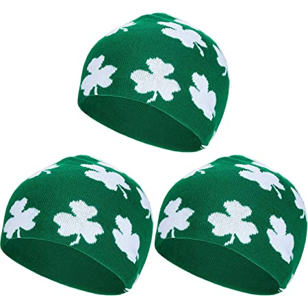 Patricks Day Embroidered Marled Knit Beanie Cap Go All Out Adult Shamrock St