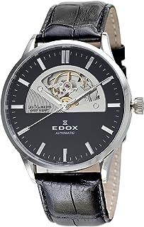EDOX - Reloj automático de cuero negro para hombre 85014 3 NIN Les Vauberts