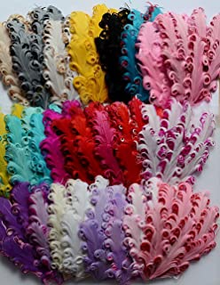 12 pcs Mixed Lots Assorted Curly Goose NAGORIE Feather Pads; Appliques Trim Child Girls Headbands
