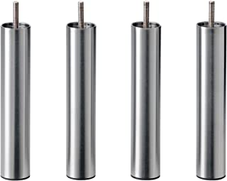IKEA BEDROOM Bed Risers | Best Natural Metal Steel Bed Leg Risers | Easy Install - Set of 4 [TALL, SILVER METAL]