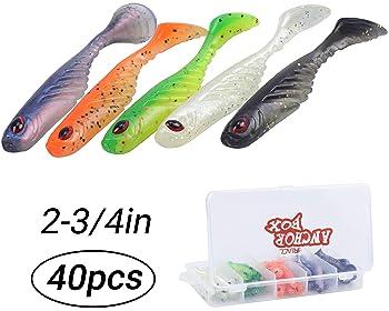 "ORANGE W//GLITTER CURL TAIL GRUB FISH BAIT USA MADE 30 PCS. SOFT PLASTIC 3/"" FLOR"