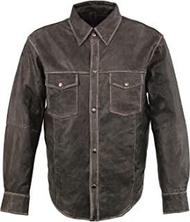 Milwaukee Leather Men's Grey Lightweight Shirt Big and Tall - Mlm1605-Distressed Gry-4X