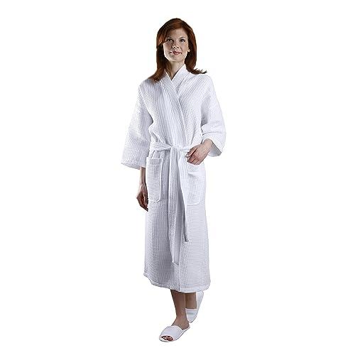 e5c77ac88b Monarch Cypress Square Waffle Spa Kimono Robe - Soft Light Hotel Bathrobe  White