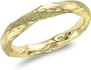 Carissima Gold Anillo Torzado para Mujer de Oro Amarillo 9K (375) Texturizado y Pulido (3mm de Ancho) - Talla 11