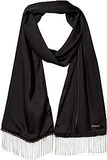 Karl Lagerfeld Paris Women's Chain Trim 100% Polyester Evening Scarf, BLACK, 1