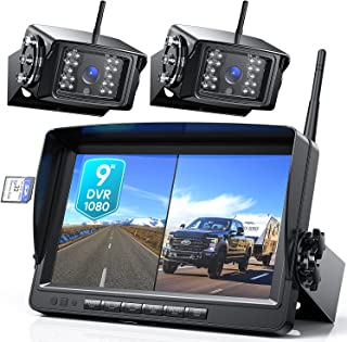 """$279 » Fookoo 1080P 9"""" Wireless Backup Camera System, 9"""" HD Dual/Quad Split Monitor with Recording, IP69 Waterproof Rear View Fro..."""