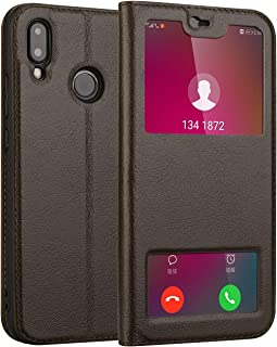Leather Case Compatible with Huawei P20 Lite/Nova 3E,Genuine Leather Ultra Thin Flip Dual Window View Stand Feature Case Cover Phone case (Color : Brown)