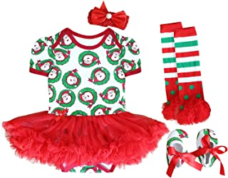 Baby Girls My First Christmas Outfit Costume Tutu Dress Rompers 4Pcs Set