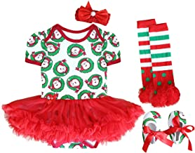 FANCYINN Baby Girls My First Christmas Outfit Costume Tutu Dress Rompers 4Pcs Set