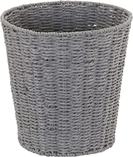 Household Essentials ML-7292 Wicker Waste Bin   Small Trash Can for Bathroom and Office   Grey