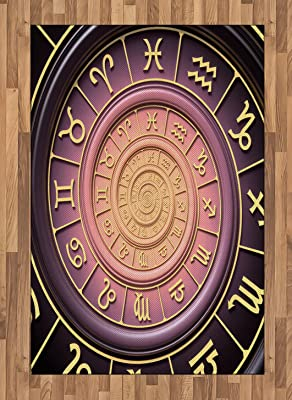 Ambesonne Astrology Area Rug, Zodiac Horoscope Signs with Inner Circles Shell Like Swirls Image,
