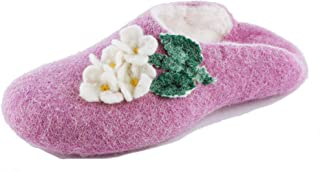Gewenst Lilac Indoor House Slippers for Women Girls Kids Handmade Woven by Hand 100% Wool