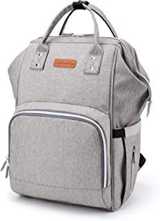 RHMM Baby Diaper Bag Backpack Multi-Function Waterproof Travel Backpack Nappy Bags with Changing Pad,Insulated Bottle Pocket and Stroller Straps (Gray)