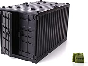 Black Cargo Shipping Container Compatible with Toy Brick Minifigures