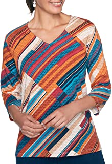 Alfred Dunner Womens Petite Ethnic Patchwork Tee Shirt