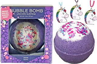 Unicorn Bubble Bath Bomb for Girls with Surprise Kids Necklace Inside by Two Sisters Spa. Large 99% Natural Fizzy in Gift Box. Moisturizes Dry Sensitive Skin. Releases Color, Scent, Bubbles.