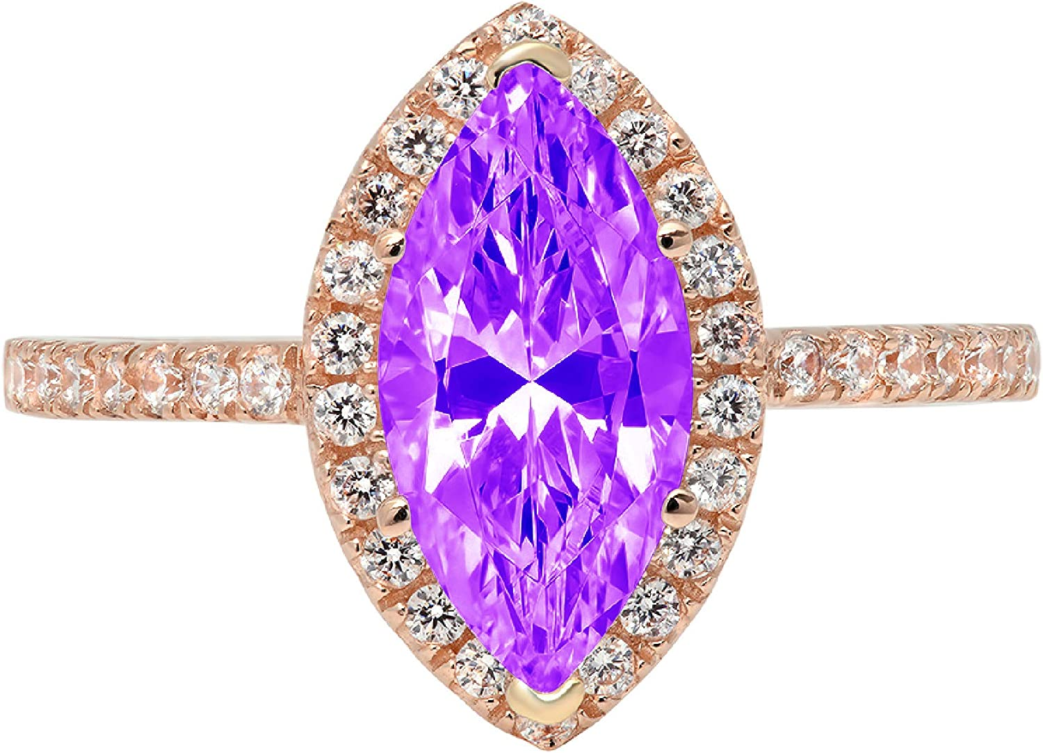 2.32ct Brilliant Marquise Cut Solitaire with Accent Halo Natural Purple Amethyst Gem Stone Ideal VVS1 Engagement Promise Statement Anniversary Bridal Wedding ring 14k Pink Rose Gold