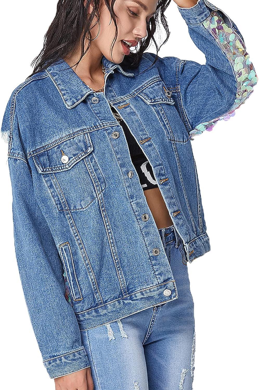 Saukiee Women's Oversized Denim Jacket Sequins Boyfriend Blue Trucker Jean Coat
