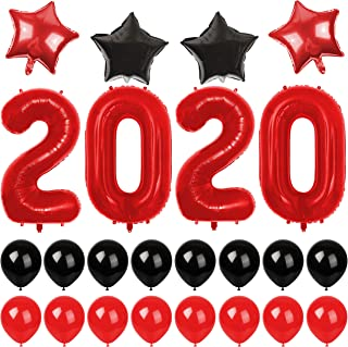 40 Inch Red 2020 Number Foil Balloons Graduations Party Supplies, New Years Party Decorations