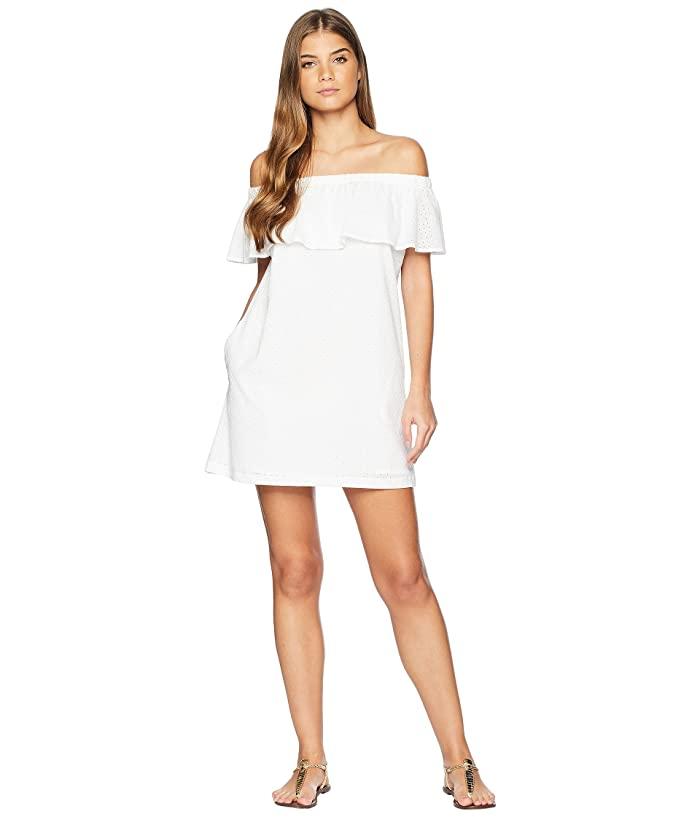 Lucky Brand Belle-Air Off the Shoulder Ruffle Dress Cover-Up (White) Women