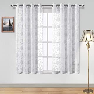 DWCN Faux Linen Sheer Curtains - Floral Jacquard Grommet Top Semi Voile Curtains for Bedroom and Living Room, Set of 2 Window Curtain Panels, 52 x 63 Inch, White and Grey
