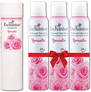 Enchanteur Romantic Perfumed Talc for Women, 250g & Enchanteur Romantic Perfumed Deo Spray for Women infused with real Fre...